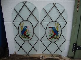 Pair Of Leaded,Kingfisher,Glass Panels. 24 inches x 12 inches.