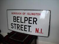 Old 1940/50s Islington N1, Belper Street,Enamel Street/Road Sign, London