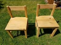 2 x wooden children's chairs