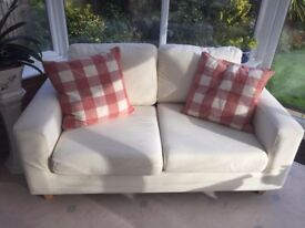 Cream sofa from Sofa workshop - ideal for a playroom/conservatory-good condition