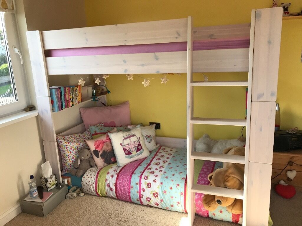 White Wash Pine High Sleeper Single Bed Frame With Play Space