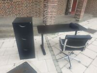 solid desk office-chair office and metal drawer in excellent condition and very solid