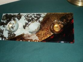 T Tea Light Candle Tray Fused Studio Glass - Center Table for Christmas - Murano Style - OFFERS