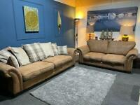 DFS Oakland tan fabric chesterfield suite 3 seater sofa and 2 seater sofa