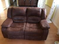 Two and three seater leather reclining sofas