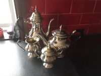 Silver plated tea set, tea pot water jug milk and suger
