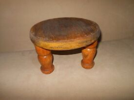 Very chunky tough short tatty wooden stool very useful stand/sit child adult repaint art job project