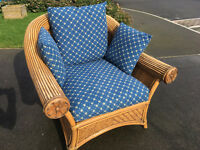 2 Rattan chairs and glass top table - ideal for conservatory.