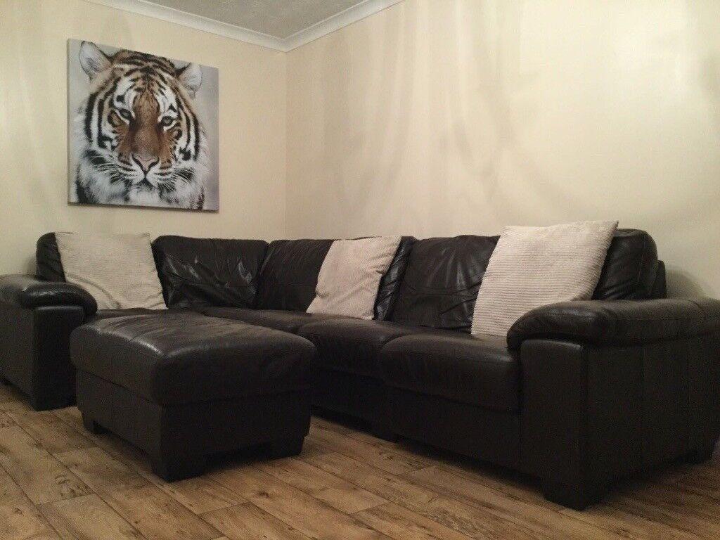 Brown Leather Corner Sofa from DFS in Rainham London Gumtree