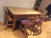 Solid pine rustic table and chairs