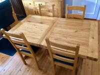 Quality Solid Oak Extending Dining Table & 4 Leather/Oak Chairs