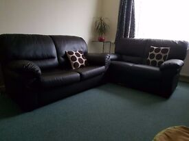 Brown leather sofa bed + sofa