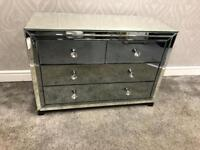 Mirrored & Smoked Grey Chest Of Drawers