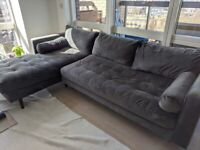 Scott Sofa 4 Seater Grey Velvet Left Chaise - Good Condition £550 ONO - RRP 1599