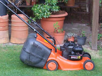 Flymo Electolux LC 400 push lawnmower with Briggs and Stratton petrol engine.