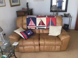 Hardly used leather electric 2 seater sofa