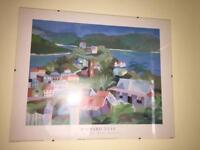 RICHARD TUFF FRAMED PRINT OF A COLOURFUL HARBOUR
