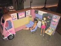Barbie Camper van with 2 Barbie's and accessories