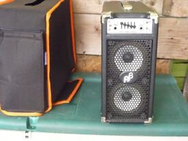 Phil Jones bass briefcase combo amp. Mains & battery, 100 watts, with Roqsolid padded cover.
