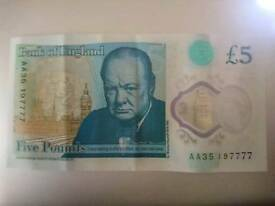 AA35 FIVE POUND NOTE LUCKY 7777