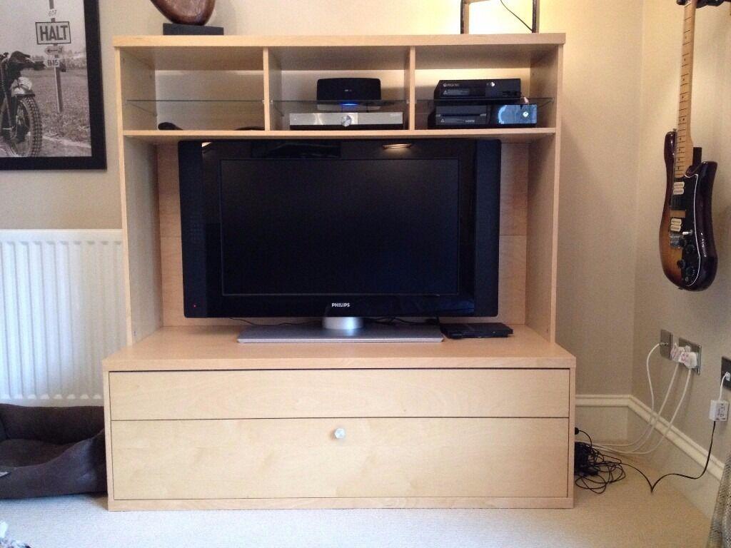 Ikea Bonde Tv Bench And Media Unit In Birch Effect In North  # Meuble Tele Bonde Ikea