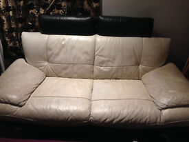 Leather (2) seater and (1) day bed leather bed sofas