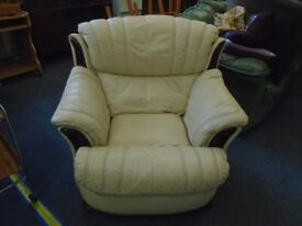 single white leather arm chair.