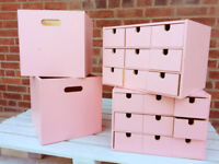 IKEA storage boxes - beautifully painted in pink - ideal for childrens toys and collectables