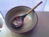 VINTAGE KHOKHLOMA WOODEN BOWL & SPOON