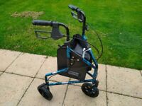 Lightweight 3 Wheeled rollator /Tri Walker with brakes and Shopping Bag