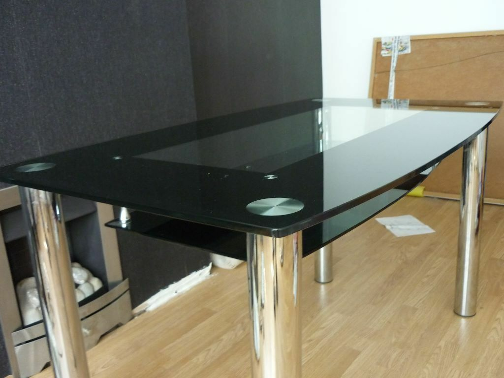 Black Glass LARGE Dining Table With Chrome Chunky Legs And Under Floating Table. BARGAIN \u00a350