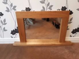 Oak Mirror with candle shelf - bespoke rustic reclaimed chunky oak frame