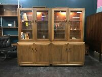 Twin Windsor High Sideboard / Bookcase / Display Cabinet in Elm by Ercol. Retro Vintage Mid Century