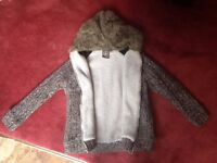 Fleece lined Luca Denim Knitted Zip Up Hooded Coat Jacket Unisex Mens small, Womens 12-14