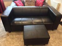 £50ono Black Leather Sofa & Futon