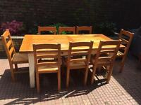 Solid Dining Table and six chairs