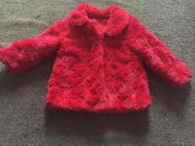 Red Fur Coat - 9-12 months
