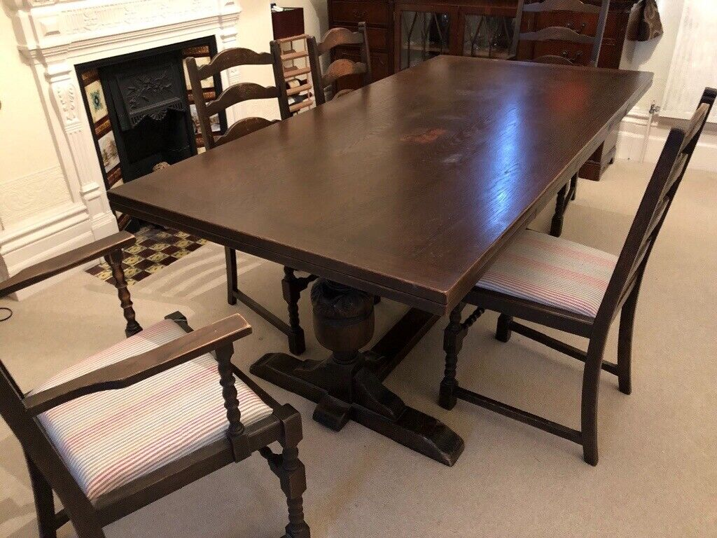 Super Large Dark Wood Dining Table And 6 Chairs In Plymouth Devon Gumtree Onthecornerstone Fun Painted Chair Ideas Images Onthecornerstoneorg
