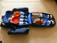 NEW.Picnic Luxury backpack hamper for 4 plus additional crockery and cutlery for another 5 people.