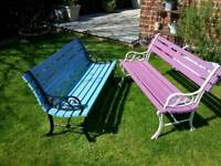 2 Small Cast Iron Benches.