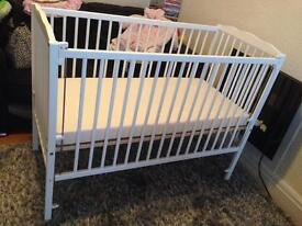White Space Saver Cot with Drop Down Side and Mattress