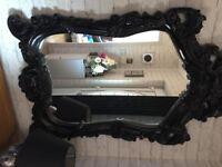 Large Impressive Ornate Black Gloss Mirror