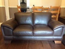 Brown Italian leather sofa - 2 seater