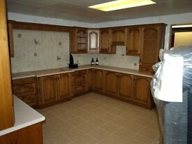 Kitchen Units - Ex Display italian oak finish large kitchen complete floor and wall units