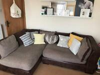 Corner sofa+pouffe+swivel cuddle chair+half moon pouffe