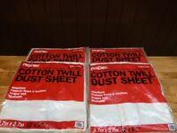 Joblot 4 x Cotton Twill Dust Sheets (3.7 Metre x 2.7 Metre)
