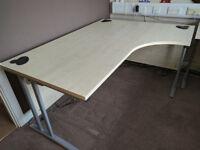 Office Desk - Gresham D3K Right Handed Cantilever Professional Office Desk Workstation In Ash/Silver