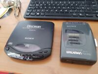 For sale vintage sony discman cd player and walkman radio casette