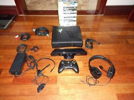 Xbox 360, with all accessories and 20 games.