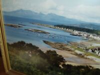 large laminated/photo framed picture millport / arran hills / bute